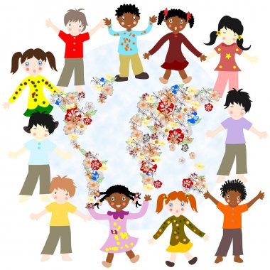 Happy children of different races around the world blooming card