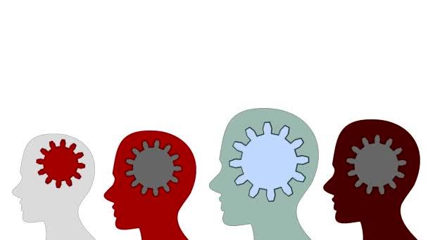 Ozubená kola otáčet uvnitř mozek moc týmové práce na bílém pozadí, animace, kreslený