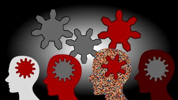 Ozubená kola otáčet uvnitř mozku sílu týmové práce, animace, kreslený