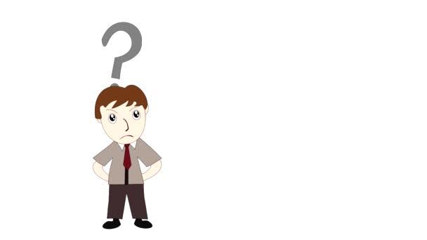 Geschäftsmann denkt auf weißem Hintergrund Karikatur Mann mit einer Idee