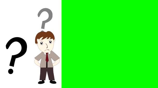Geschäftsmann, der auf grünem Hintergrund denkt, Karikaturist mit einer Idee