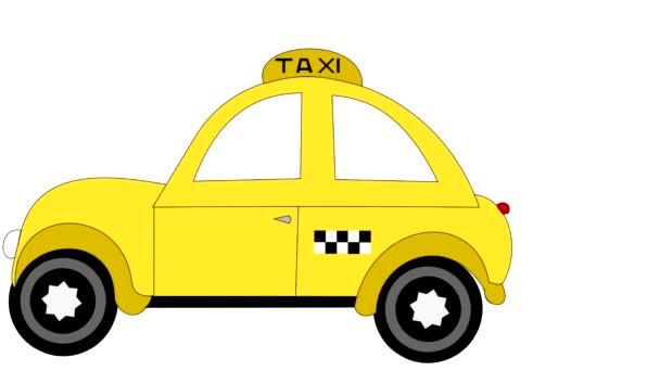 Taxi jezdí na bílém pozadí, inzerce, animace, kreslený