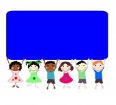Ilustrace dětí různých ras za banner na