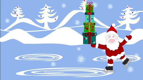 Mikulás ajándékok a dobozok korcsolyát a korcsolyapálya, hó esik
