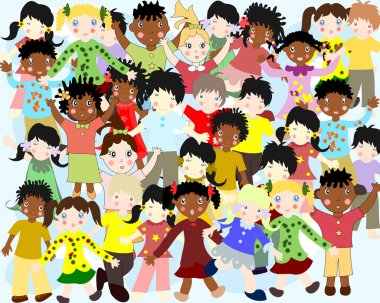 Group of happy children of different nationalities in colorful c