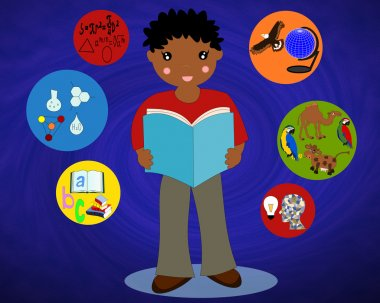 African boy with a book in his hands around the icons of school