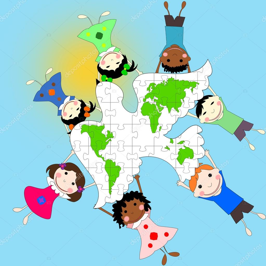 Races Of The World Map.Children Of Different Races With A Dove And A Map Of The World