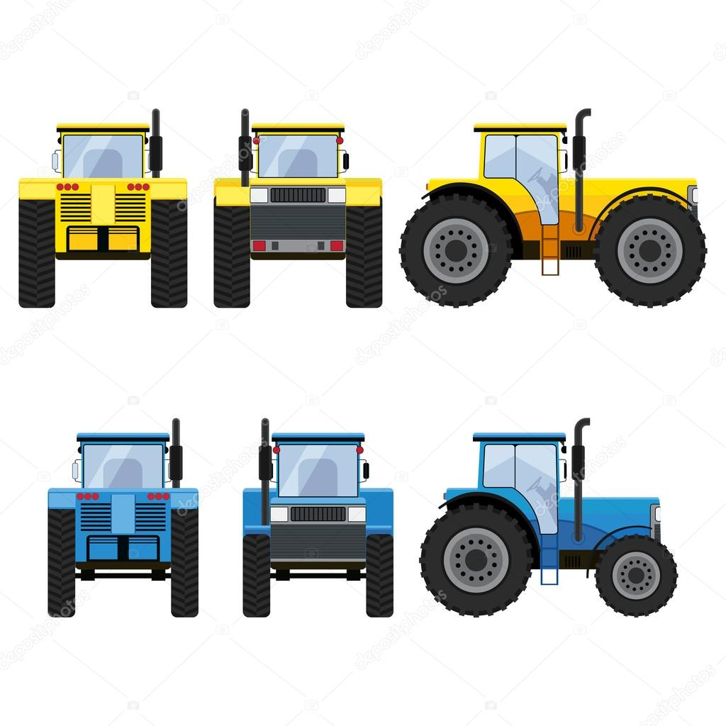 yellow and blue tractors with big wheels stock vector