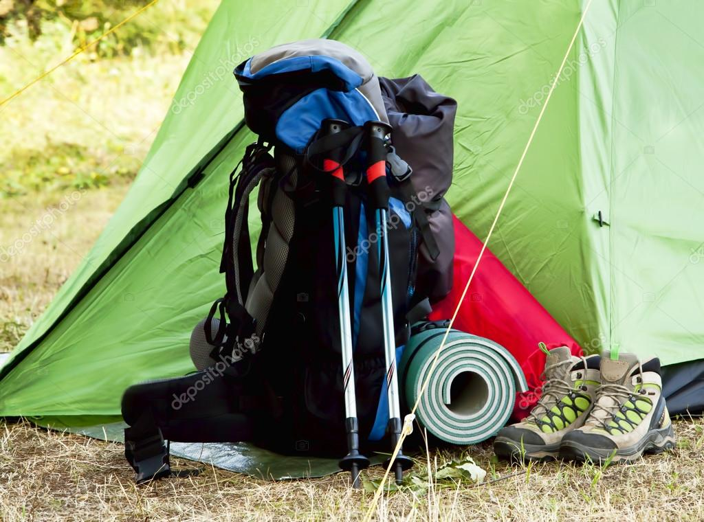 Camping Equipment with Backpack and Boots