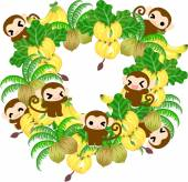 Pretty Monkeys -Wreath of banana and coconut-