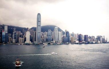 Hong Kong city buildings and river