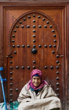 old woman in Fes Medina, Morocco