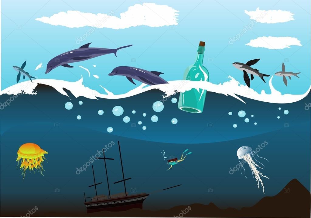 Wreck in the ocean , underwater world, sea depth, dolphins,bottle.