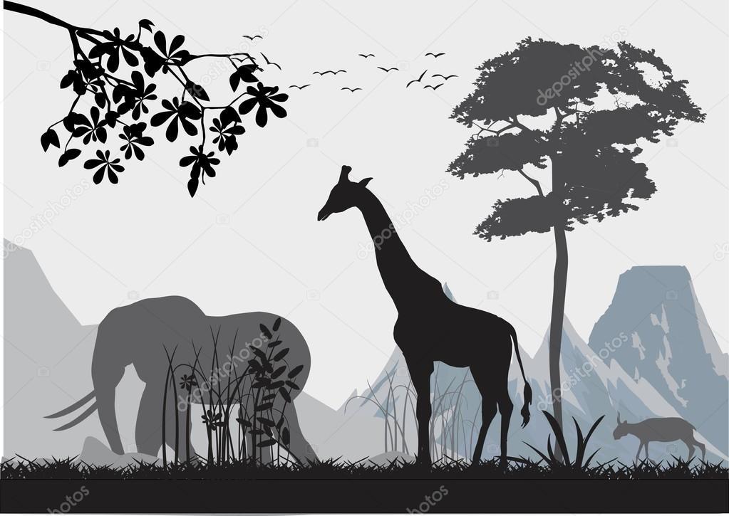 Animales Si Selva, árboles, Plantas Y Su Ilustración De