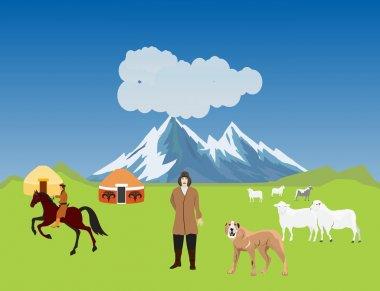Kazakh aul, jurts,sheeps, dogs. Typical Kazakhstan countryside, vector illustration.