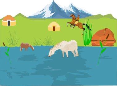 Kazakhstan landscape, horsemen running, jurts, horeses at lake
