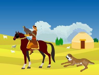 Kazakhstan landscape, horsemen with eagle hunter, dog