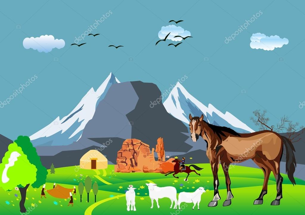 Kazakh aul, jurts,sheeps,mountains. Kazakhstan countryside, vector illustration.