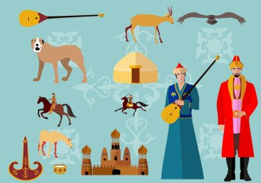Kazakhstan symbols flat icons set. People in ethnic dress, national sport