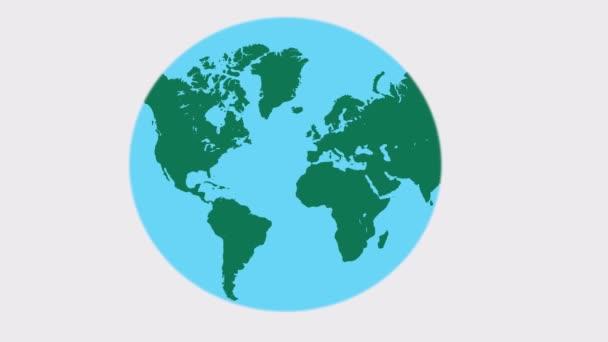 Concept  rolling  globe, 2d animation cartoon