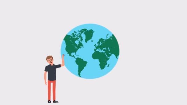 Concept man rolls the  globe, 2d animation cartoon