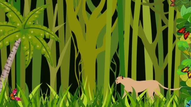 Leopard walking in the jungle, 2d animation cartoon