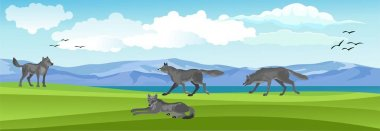 Vector landscape, wolves pack on the nature, blue sky and clouds icon