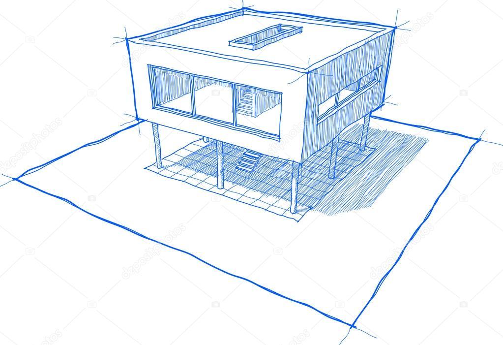 Modernes haus skizze stockvektor valigursky 100043784 for Modernes haus zeichnen
