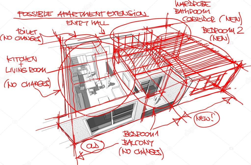 Wohnung-Diagramm mit Hand gezeichneten Skizzen des Architekten ...