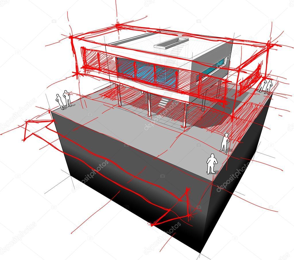 Modernes Haus Erweiterung Diagramm U2014 Stockvektor