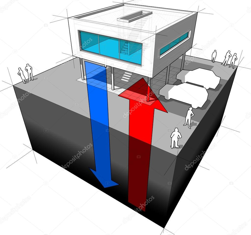 Geothermal energy diagram stock vector valigursky 113615188 diagram of a modern house or villa receiving energy from the ground symbolising geothermal energy vector by valigursky pooptronica