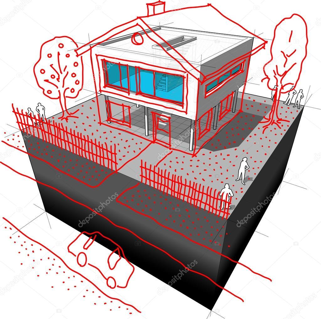 Diagrama de redise o de casa moderna vector de stock for Casa moderna vector