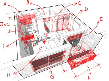 Apartment diagram with hand drawn architects notes