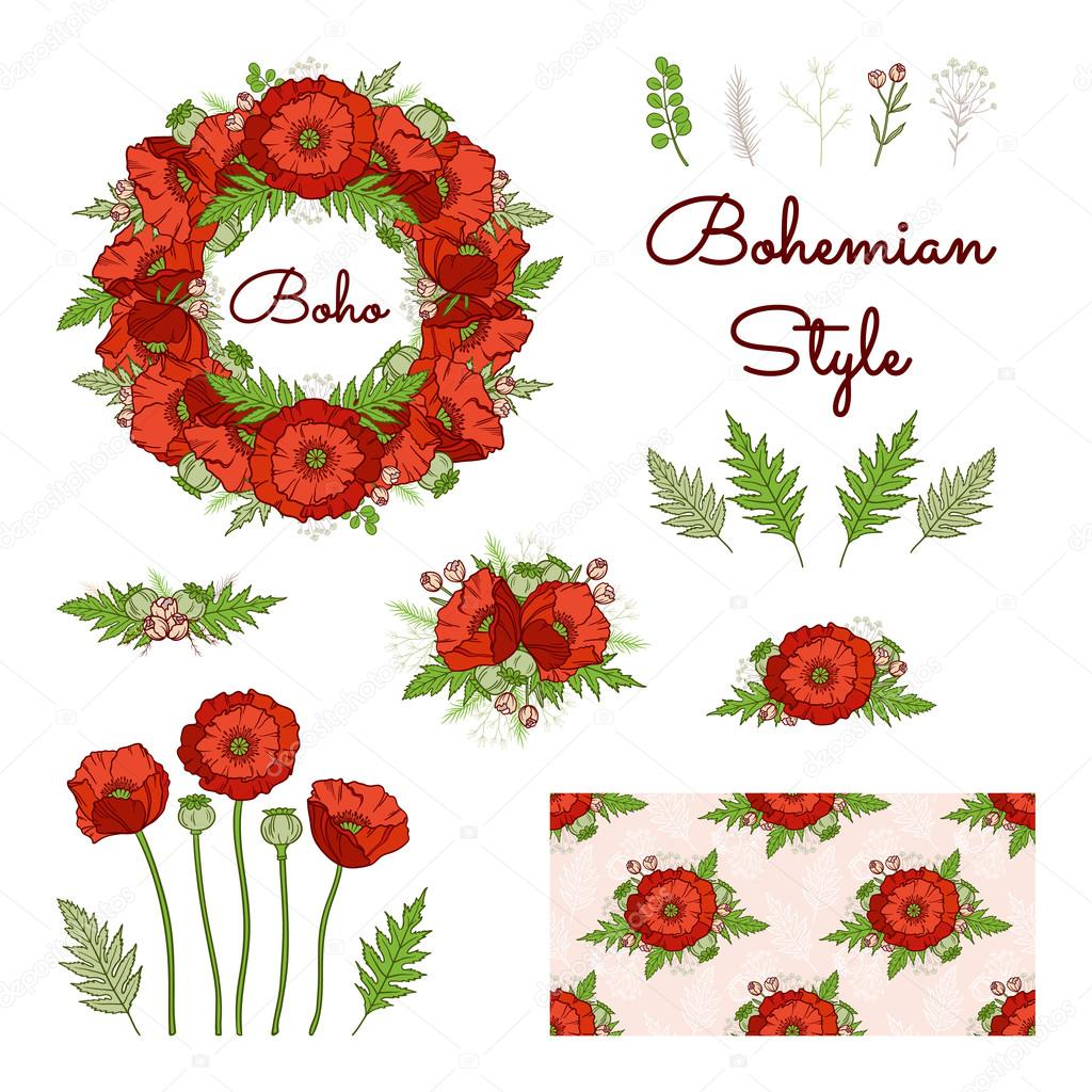 Bohemian style collection with poppies. — Stock Vector © Viktory_S ...