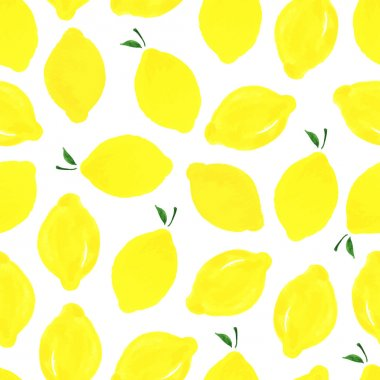 Watercolor seamless pattern with lemons on the white background. Vector illustration. Hand drawn background. stock vector