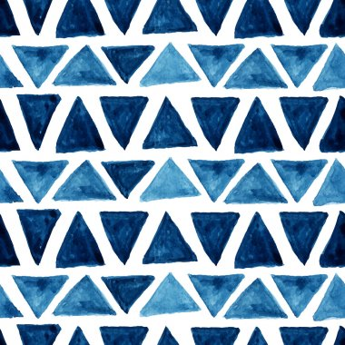 Watercolor modern pattern with blue triangles. Seamless pattern. Abstract background. Vector illustration. clip art vector