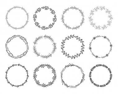 Set of floral wreaths.