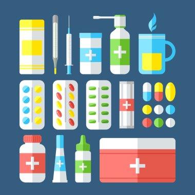 Medicines isolated on dark background.