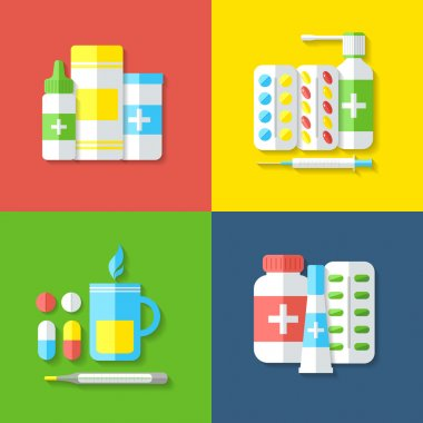 Medicines, isolated objects.