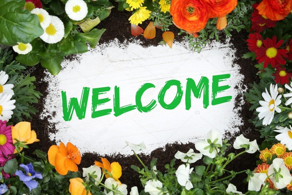 Welcome Garden With Flowers Flower U2014 Stock Photo