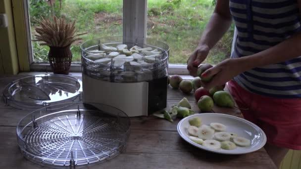 Landwirt weiblich birnen schälen auf tisch in der nähe von essen