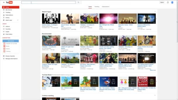 Searching Youtube website for classic rock music and watching clips online