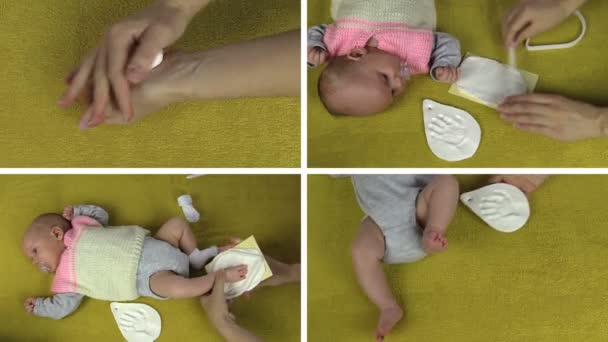 hands make baby footprint footmark palm mark. Clips collage.