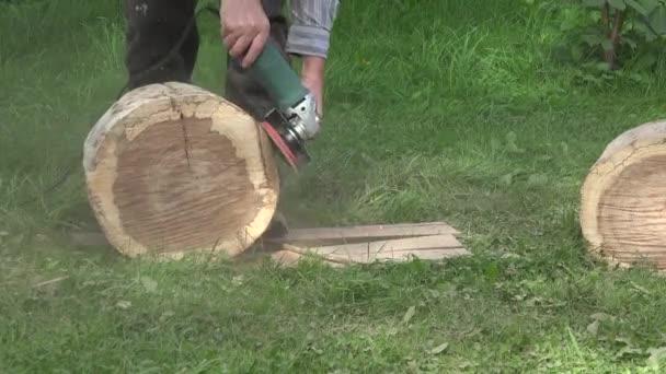 Sanding trunk log. Closeup. 4K