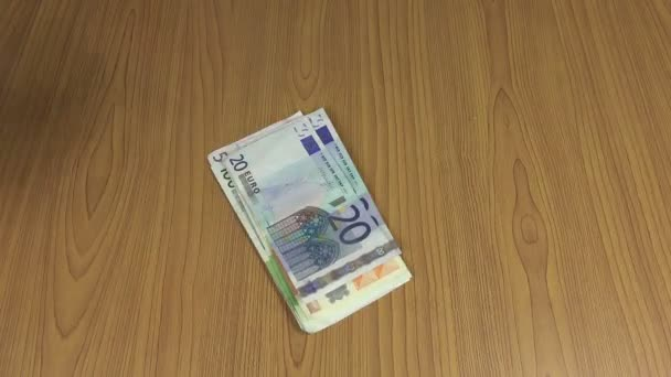 Officer man take and count euro banknotes. 4K