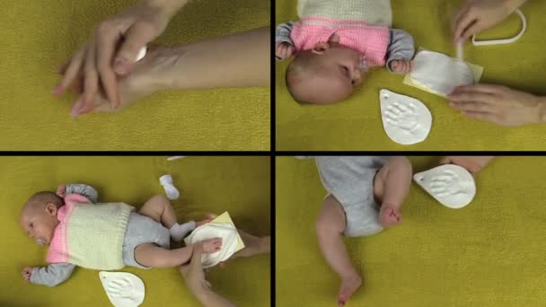 Hands make newborn baby footprint palm mark. Video collage.