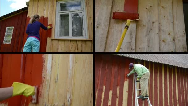 Frau und Mann auf Leiter bemalen Holzhaus. Collage von Videoclips