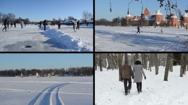 People skate on ice in winter. Ice surfers. Playful couple