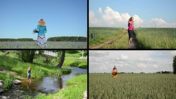 Pretty girl enjoy summer leisure. Video clips collection.