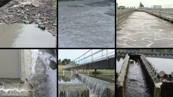 Schmutzwasser. Blubbernder Abschaum. Wasserwerk. Clips-Collage.